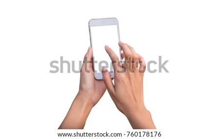 hand holding phone mobile and touching screen isolated on white background #760178176