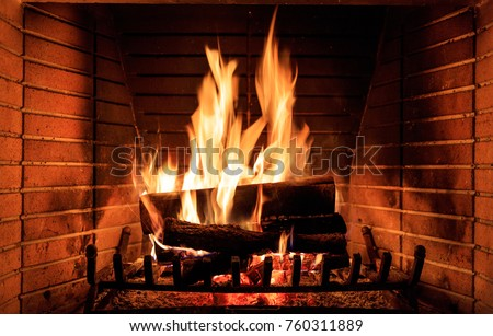 Fireplace burning wood logs, cozy warm home christmas time #760311889