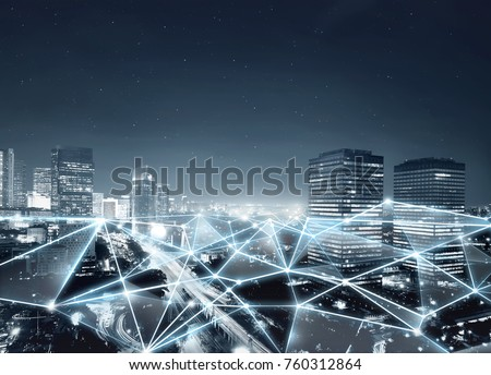 Map of network connection and internet communication on the modern city #760312864