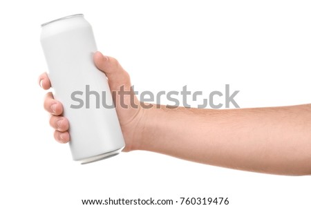 Man holding aluminum can on white background #760319476