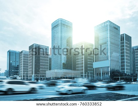 busy traffic in front of modern city buildings #760333852