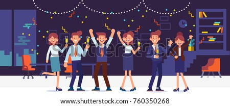 New year party in office. Business team celebrate. Cartoon style, flat vector illustration. Royalty-Free Stock Photo #760350268