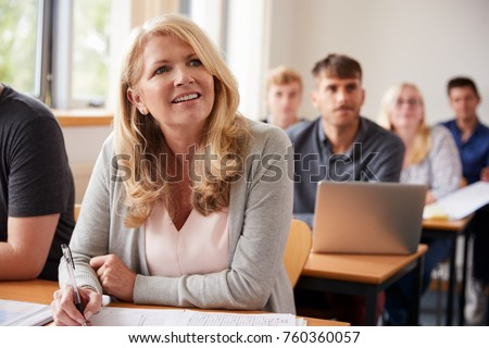 Mature Woman In College Attending Adult Education Class #760360057