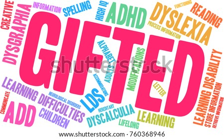 Gifted Learning Difficulties word cloud on a white background.  #760368946