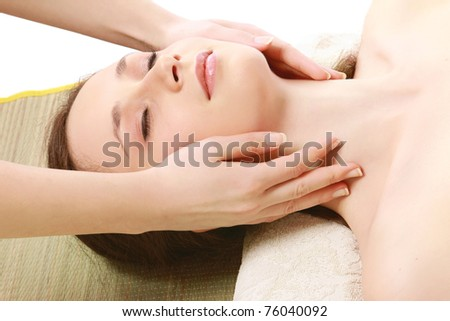 A young woman getting spa treatment #76040092