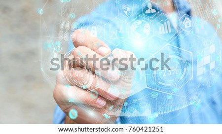 Businessman on blurred background holograms datas digital sphere with a pen 3D rendering #760421251