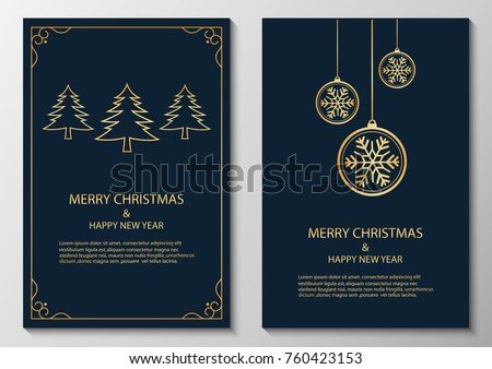 merry christmas and happy new year, greeting.vector illustration #760423153