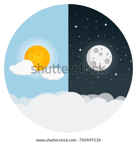 day and night flat design icon #760449136