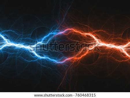 Fire and ice fractal lightning, plasma power background #760468315