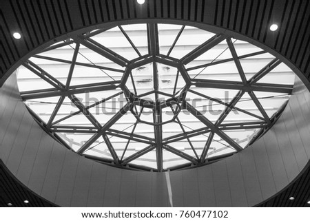 Curved Skylight Glass Roof or Ceiling of Dome with Geometric Structure Steel in Modern Contemporary Architecture Style as abstract Black and White architectural and industrial background or pattern  #760477102