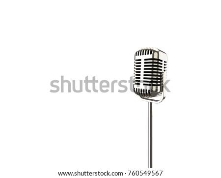 3D illustration 3D rendering vintage metal microphone on a stand #760549567