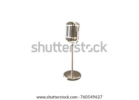 3D illustration 3D rendering vintage metal microphone on a stand #760549627