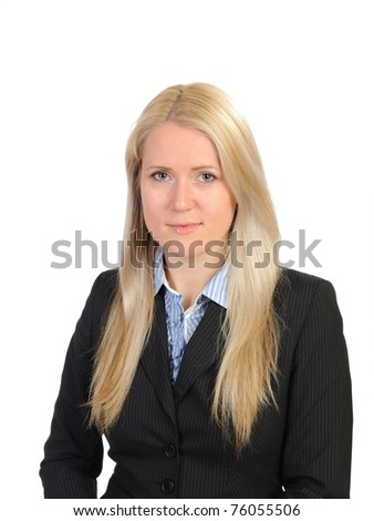 pretty  business woman in black suit and shirt. isolated on white #76055506