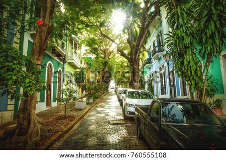 Beautiful street full of trees in old San Juan, Puerto Rico Royalty-Free Stock Photo #760555108