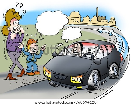 Cartoon illustration of a shocked mother and son who sees a driverless car with a man reading newspaper