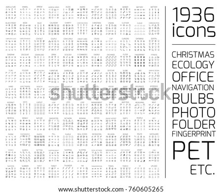 Exclusive 1936 thin line icons set. Big package of modern minimalistic pictograms for mobile UI or UX kit, infographics and web sites. High quality office, pet, photo, bulb and other signs Royalty-Free Stock Photo #760605265