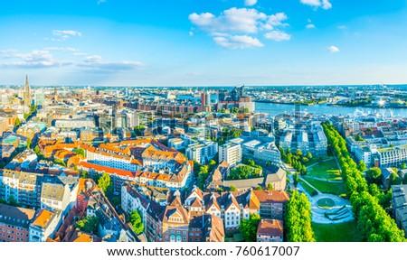 Panorama of Hamburg in Germany #760617007