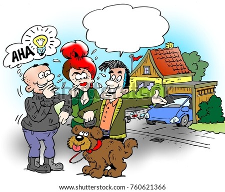 Cartoon illustration of a family who are out and walk the dog, the neighbor will have a good idea