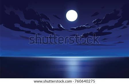 Vector night sky clouds. Moonlight. Background design