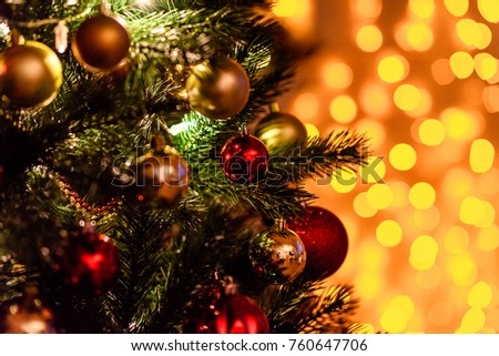 Decorated Christmas tree on blurred, sparkling and fairy background #760647706