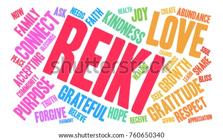 Reiki word cloud on a white background.  #760650340