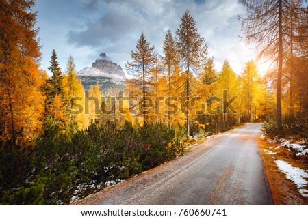 Scenic image of the alpine road. Location famous National Park Tre Cime di Lavaredo, Misurina, Dolomiti alps, South Tyrol, Italy, Europe. Great picture of wild area. Explore the beauty of earth.