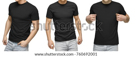 Young male in blank black t-shirt, front and back view, isolated white background with clipping path. Design men tshirt template and mockup for print. #760692001