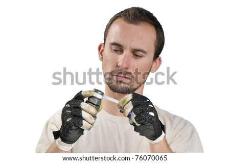 Assembly Worker isolated on a white backgound #76070065