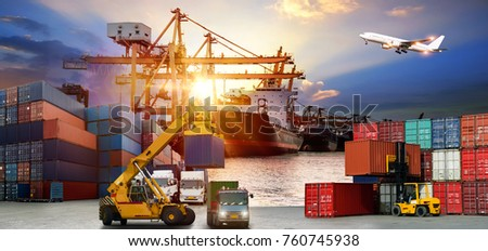 Logistics and transportation of Container Cargo ship and Cargo plane with working crane bridge in shipyard at sunrise, logistic import export and transport industry background #760745938