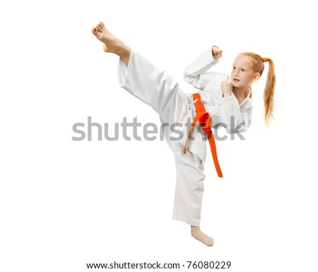 Little girl practice karate isolated on white #76080229