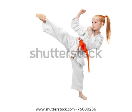 Little girl practice karate isolated on white #76080256