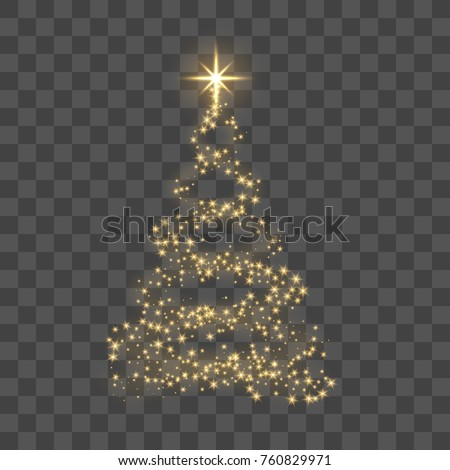 Christmas tree on transparent background. Gold Christmas tree as symbol of Happy New Year, Merry Christmas holiday celebration. Golden light decoration. Bright shiny design Vector illustration #760829971