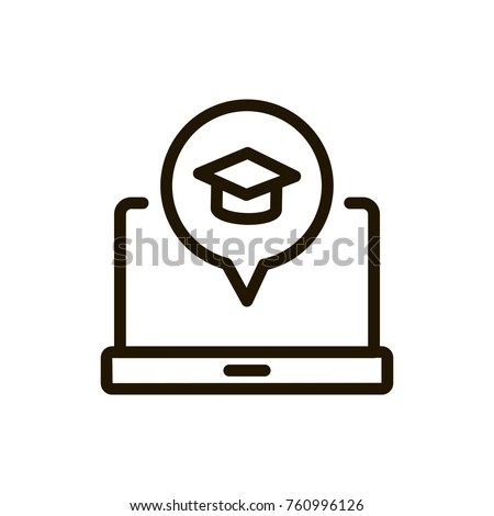 E-learning line icon. High quality black outline logo for web site design and mobile apps. Vector illustration on a white background. Royalty-Free Stock Photo #760996126