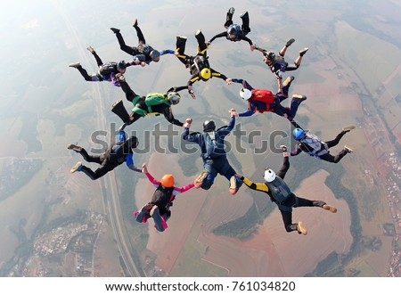 Skydiving team work Royalty-Free Stock Photo #761034820