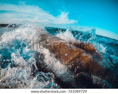 Big Waves Blue Ocean Sunny Day #761089729