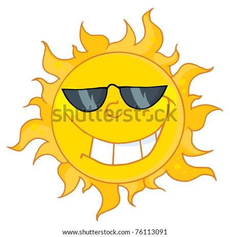 Happy Sun Mascot Cartoon Character With Sunglasses