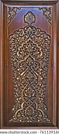 Beautiful patterns, wooden carved. National patterns. #761139160