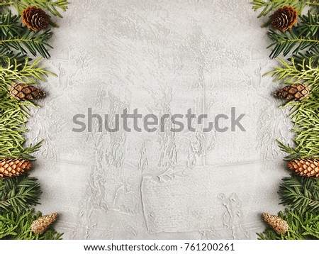 Christmas background with fir branches and pine cones. Floral New Year frame. with copy space. #761200261
