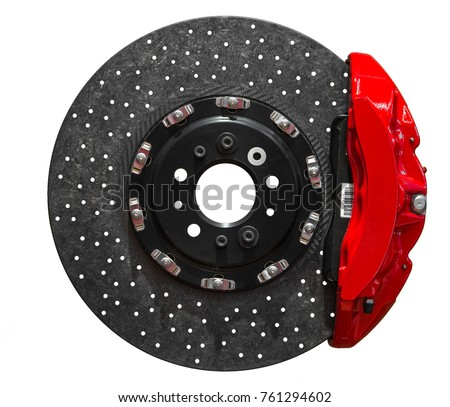 Ceramic disc brake with red caliper isolated on a white background Royalty-Free Stock Photo #761294602