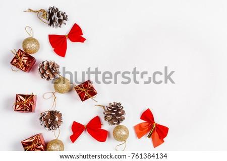 Christmas background. Christmas composition. Christmas gift. Flat lay, top view.  #761384134