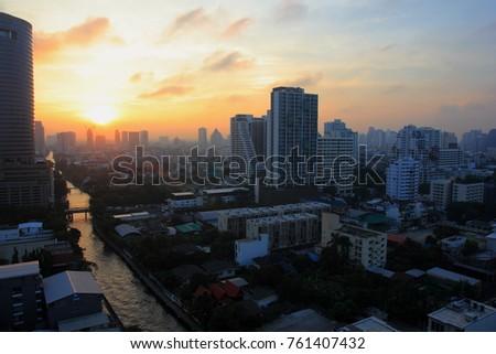 Bangkok city in time Sun rise #761407432
