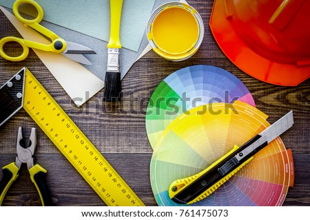 Reparing home concept. Tools on wooden desk background top view #761475073