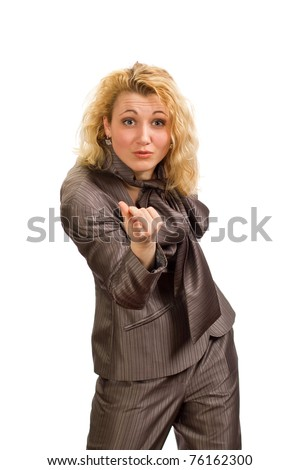 Angry girl on white background #76162300