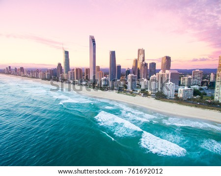 An aerial view of Surfers Paradise on the Gold Coast, Australia #761692012