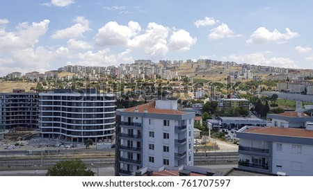 IZMIR ,TURKEY - JULY 28, 2017: Ariel view of  Balatcik, Cigili which is near Katip Celebi University. #761707597