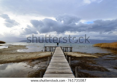 celebrating freedom. Positive human emotions, feeling life perception ,success, peace of mind concept. man on a pier with open arms. lake prespa,macedonia,   #761731087