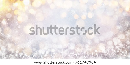 Blurred background with bokeh. Christmas and Happy New Year greeting card. #761749984
