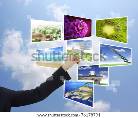hand pushing on a touch screen interface #76178791