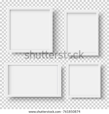 Set of empty white picture frames. Blank white picture frames mockup template isolated on transparent background. Vector collection Royalty-Free Stock Photo #761850874