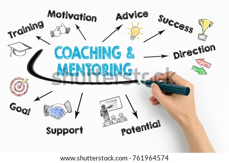 Coaching and Mentoring Concept. Chart with keywords and icons on white background Royalty-Free Stock Photo #761964574